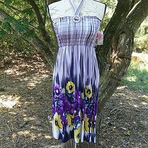 ACE Purple Yellow Flower Summer Maxi Dress Size L
